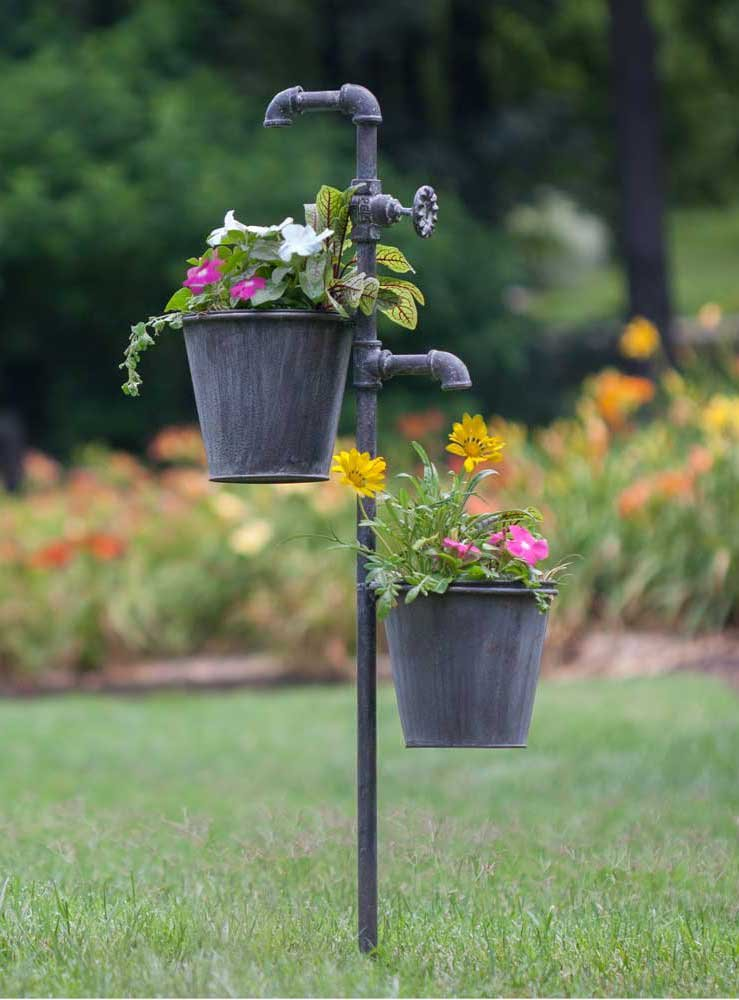 Faucet Garden Stake with Two Planters from Colonial Tin Works