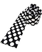 cravate de femmes en satin noir blanc argent à pois, taille 125 x 5,5 cm