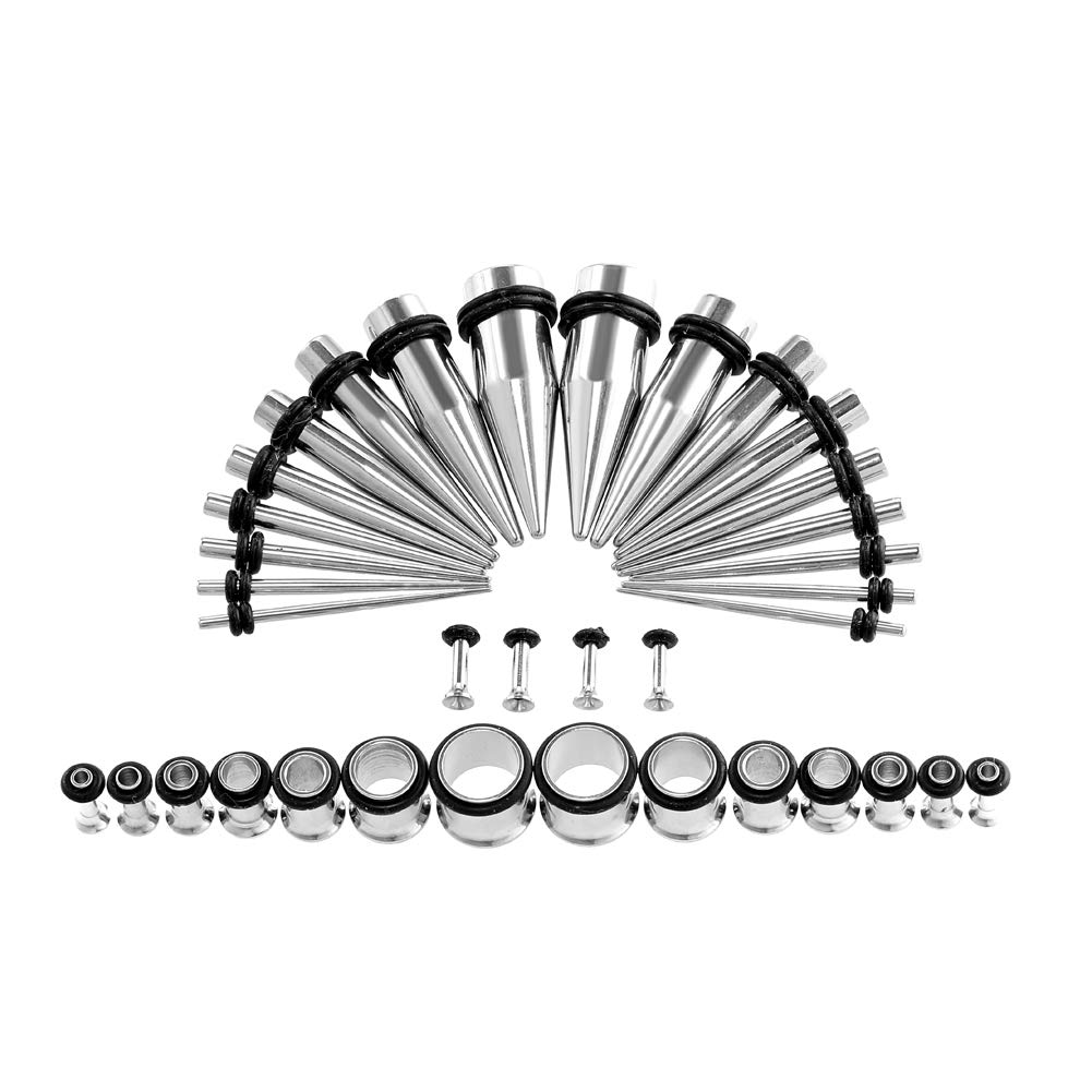 Xpircn Stretch Kit, 36PCS 14G-00G Stainless Steel Ear Taper Gauge Plugs Set Body Piercing Jewelry by Xpircn