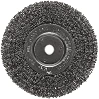 "Weiler Trulock Narrow Face Wire Wheel Brush, Round Hole, Steel, Crimped Wire, 6"" Diameter, 0.014"" Wire Diameter, 5/8-1/2"" Arbor, 1-7/16"" Bristle Length, 3/4"" Brush Face Width, 6000 rpm"