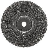 Weiler Trulock Narrow Face Wire Wheel Brush, Round Hole, Steel, Crimped Wire, 6'' Diameter, 0.014'' Wire Diameter, 5/8-1/2'' Arbor, 1-7/16'' Bristle Length, 3/4'' Brush Face Width, 6000 rpm