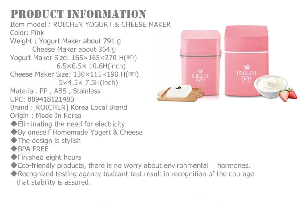 Roichen No Electric Homemade Yogurt Maker /& Cheese Maker Set Pink Color by Roichen