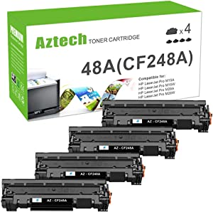 Aztech Compatible Toner Cartridge Replacement for HP 48a CF248a Pro M15w MFP M28w M29w for HP Laserjet Pro M15w M15a M16a M16w Laserjet MFP M28a M28w M29w M29a (Black, 4-Pack)