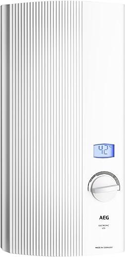 AEG Haustechnik AEG elektronischer Durchlauferhitzer DDLE LCD, 27 kW, druckfest, gradgenaue Temperaturwahl, zweifarbiges LC-Display, solargeeignet,…