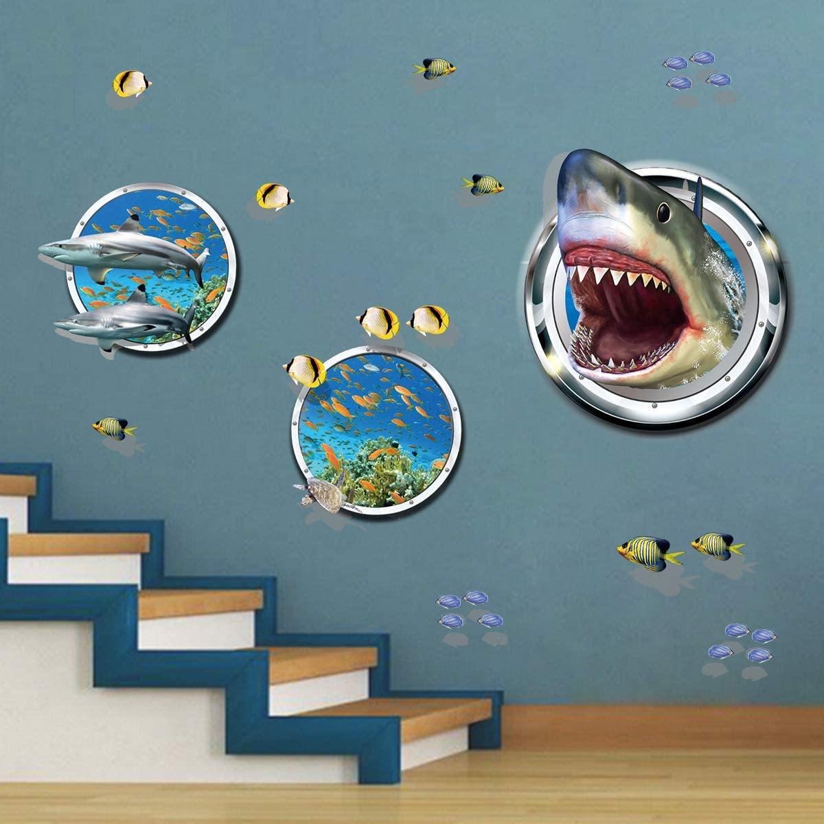 ufengke 3D Shark Broken Wall Stickers Tropical Fish DIY Wall Decals Art Decor for Kids Boys Bedroom Playroom