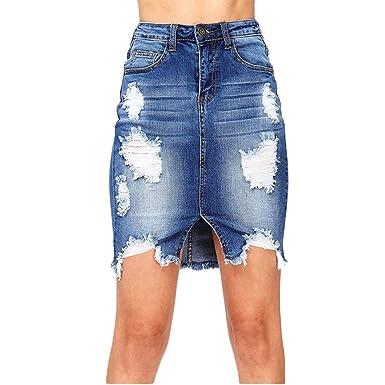 ZhuiKunA Falda para Mujeres Desgastado Asimetrica Skirt Cintura ...