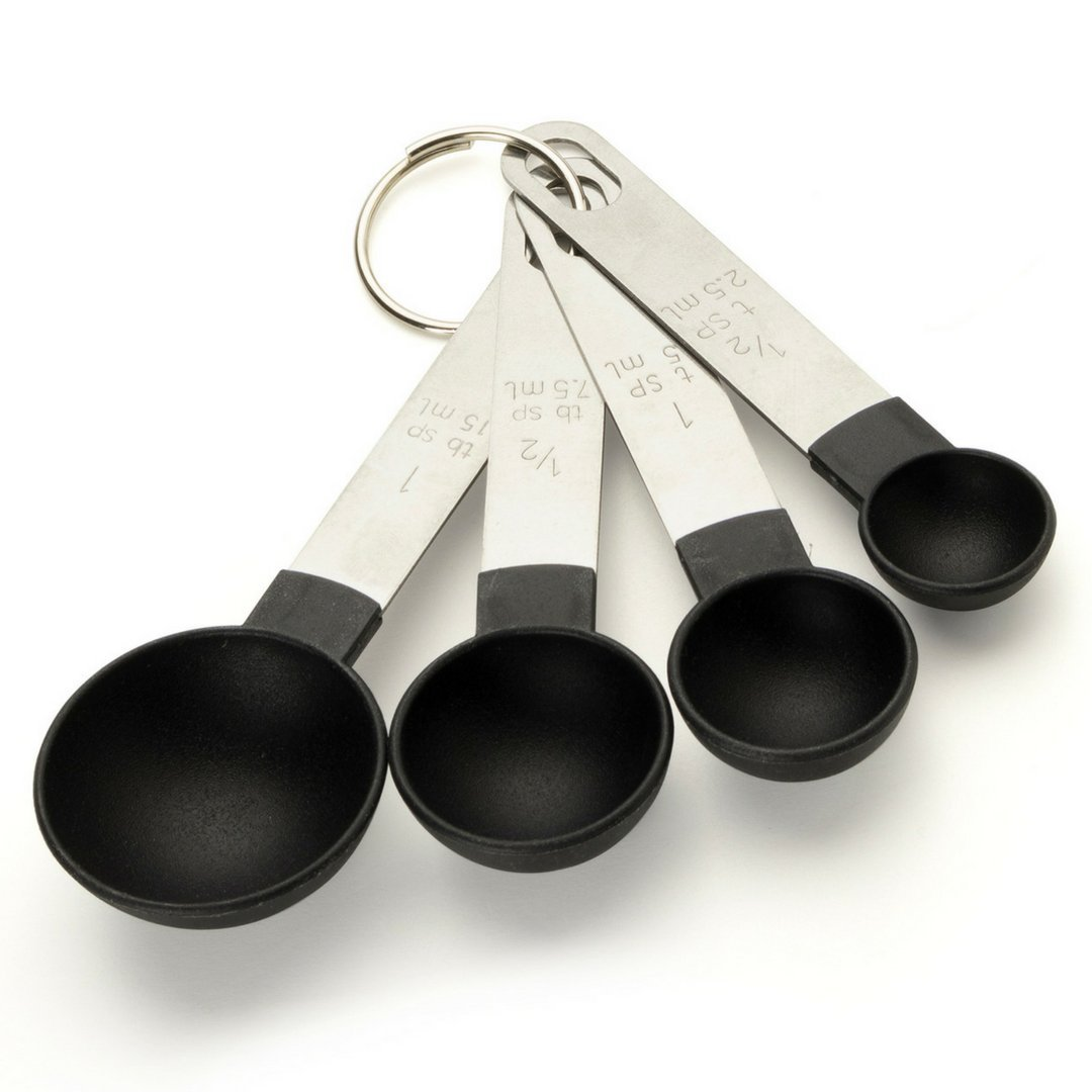 4 Set Kitchen Measuring Spoons - Sizes: ½ tsp, 1 tsp, ½ tbsp, 1 tbsp. Nesting/Stackable To Measure Dry or Wet Ingredients in Baking, Cooking, Mixing & Food Processing. Stainless Steel & Polypropylene. (Small) Taylors Eye Witness