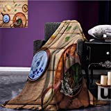 Tea Party Custom blanket Herbal Tea Pot with Fresh Herbs Sage Peppermint and Lime on Rustic Wood Planks all weather blanket Multicolor size:59''x35.5''