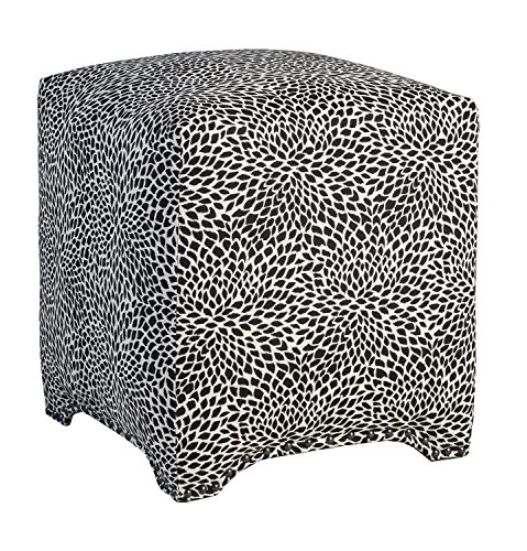 Black Cube Onyx (Leffler Home 12000-05-32-01 Tiny Leaves Onyx Emma Cube Upholstered Nail Head Ottoman, Black)