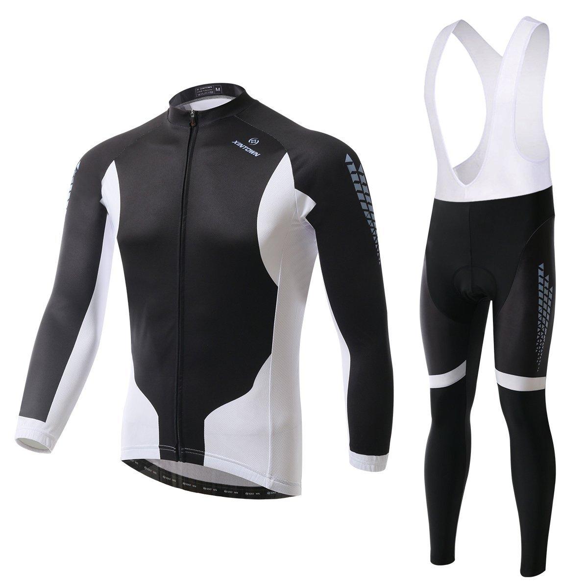 besylユニセックス長袖サイクリングジャージーとよだれかけパッド入りパンツスーツ(ブラックホワイト) B018G5W2YW M (US S)|Fleece-Bib-Long-Set Fleece-Bib-Long-Set M (US S)