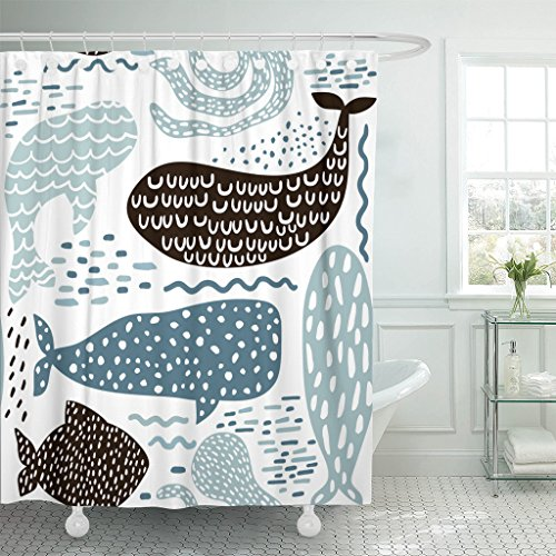 Emvency Shower Curtain Black Abstract with Sea Animal Fur Seal Whale Octopus Fish Childish in Pastel Colors Blue Baby Brush Waterproof Polyester Fabric 72 x 72 inches Set with Hooks (Curtain Shower Kids)