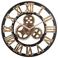Decorative Wall Clock, Eruner 23 Oversized Clocks Mechanism 3D Gear Roman Numerals Design Handmade Large Round Non-Ticking Home Kitchen Living Room Restaurant Bar Decoration Gold