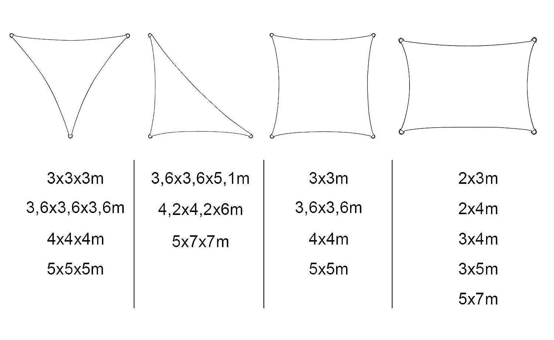 Woltu Toldo Vela de Sombra Rectangular para Jard/ín protecci/ón UV Solar Resistente y Transpirable Gris 5x7m GZS1188gr09