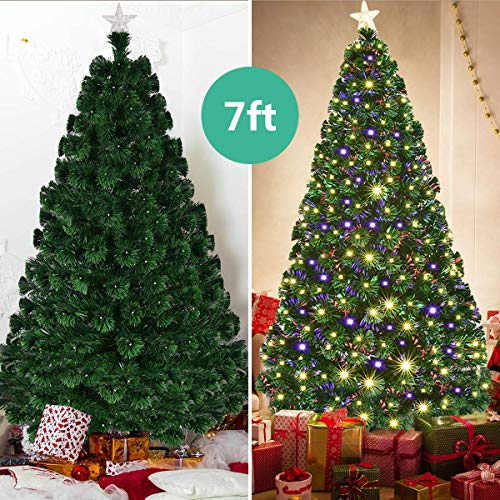 Goplus 7FT Artificial Christmas Tree Pre-Lit Optical Fiber Tree 8 Flash Modes W/UL Certified Warm White Electrodeless LED Lights & Metal ()