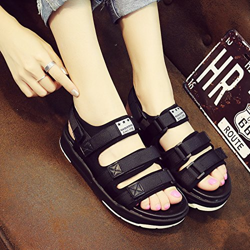 Xing Lin Ladies Sandals Sandals Women Summer Students Velcro Breathable Sports Slippers Outdoor Non-Slip Casual Tide Beach Shoes Black three deduction female