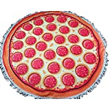SUNIN Beach Towel Round Roundie Soft Thick Terry Cotton With Fringe Tassels Tablecloth Burger Pizza Printed (Pizza) offers
