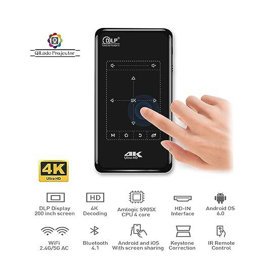 Proyector Pico portátil, Proyector de Video Android DLP 4K ...