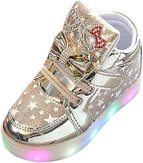 ZEZKT Baskets pour Bébé Baskets Bébé Bottines Chaussures de Bébé Antidérapant Bébé Mode Sneakers Unique Coloré LED Allumer Sneakers pour Enfants Lumineux Étoile Occasionnel Chauss