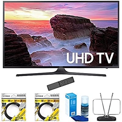 "Samsung 65"" 4K Ultra HD Smart LED TV 2017 Model (UN65MU6300FXZA) with 2x 6ft High Speed HDMI Cable Black, Universal Screen Cleaner for LED TVs & Durable HDTV and FM Antenna"