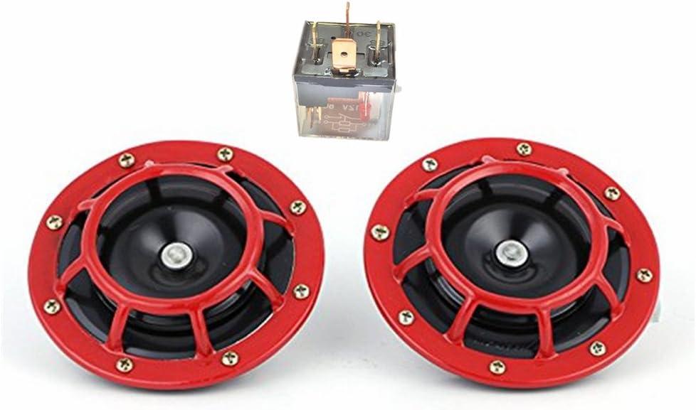 Yida Cuerno de coche eléctrico 12V 135dB super Loud Bass Metal Double Horn Kit para todos los vehículos de 12 V camiones camiones trenes vehículos de pasajeros
