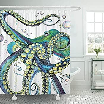 Emvency Shower Curtain Set Vintage Colorful Fashion Mint Green Octopus Painting Sea Karken Ocean Animal Tentacles Polyester Fabric 72 X 72 Inches Shower Curtains Waterproof Adjustable Hooks Bathroom