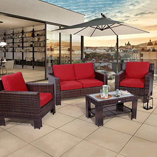 Diensday Outdoor Furniture Fully Woven 4-Piece Conversation Set All Weather Brown Wicker Deep Seating with Red Waterproof Olefin Cushions & Sophisticated Glass Coffee Table | Patio, Backyard (Loveseat Deep Seating Frame)