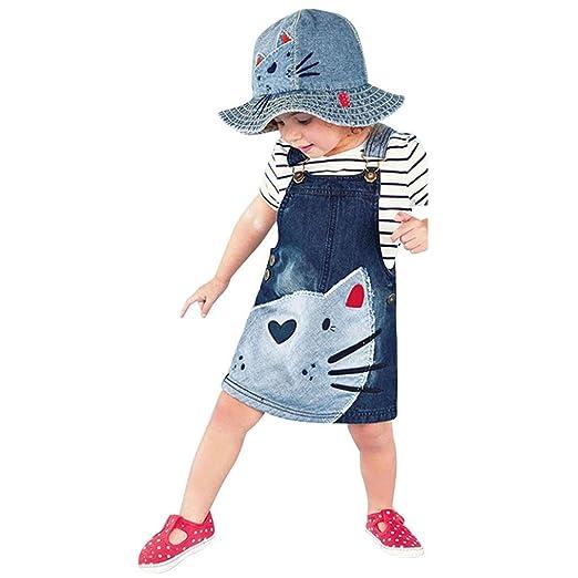 ce1137b7805 Minisoya Toddler Kids Baby Girls Denim Dress Jeans Summer Sundress Cat  Printed Overalls Dress Outfits Clothes