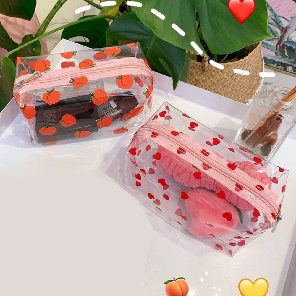 Alsu3luy02LD Trousse de toilette de voyage en PVC transparent avec impression de fruits
