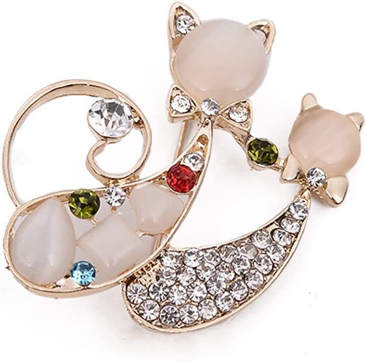 Cdet 1PC Femme Bijoux Broche Epingle en Alliage Double Forme de Chat Corsage Brooch de d/écoration Mode /él/égante Filles Style Nouveau