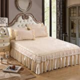 Wang Gang Bed skirt ruffled sheets bedspreads protective pure lace lotus leaf french velvet crystal-F 200x220cm(79x87inch)