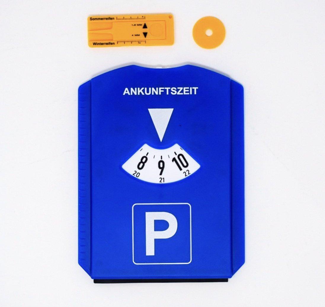 Park Disco con raschietto per ghiaccio per la spesa chip e battistrada Disco Orario in plastica Disco Orario Auto Blu G&M GmbH 75286