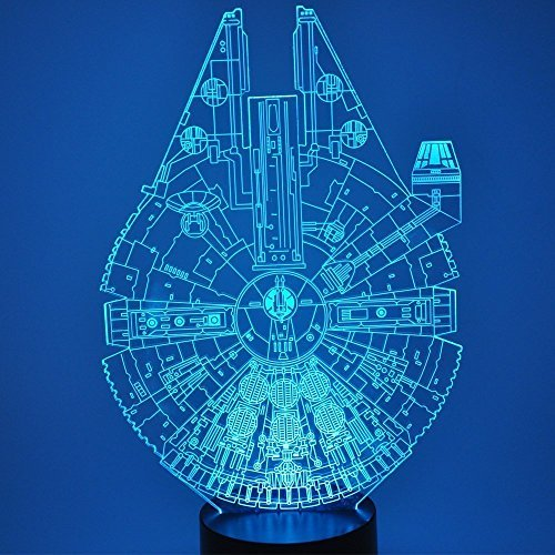(3D Illusion LED Night Light,7 Colors Gradual Changing Touch Switch USB Table Lamp for Holiday Gifts or Home Decorations (Star Wars Millennium Falcon))