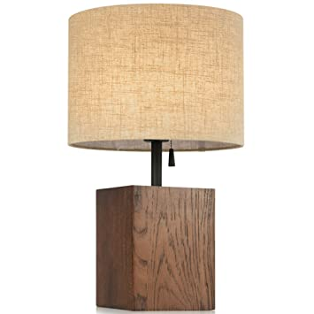 Genial SOPHILAB Nordic Wood Cube Table Stand Lights Modern Wooden Base Cloth Lamp  Shade Edison Desk Accent