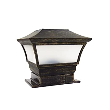 CHEEKON Fences Post Caps Solar Light, Magnesium alloy material, Bronze, Compatible - Fits