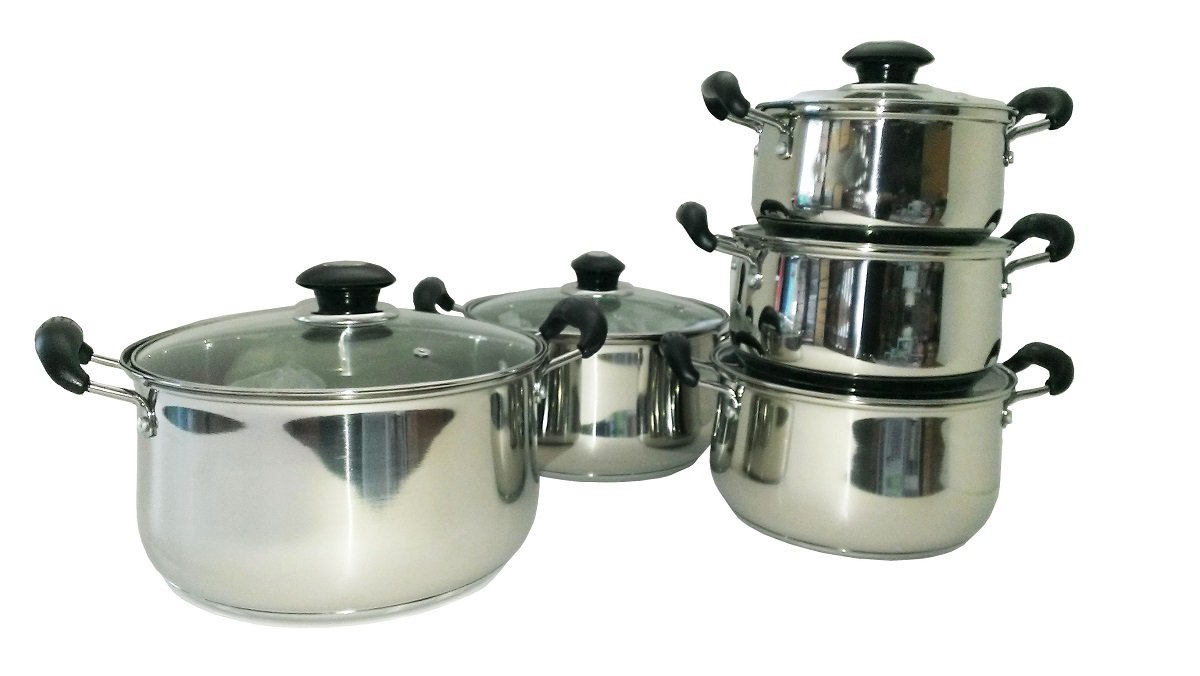 Stock Pot 8 Pcs Uniware High Quality Stainless Steel Cookware Set 8 12 16 and 20 Liter