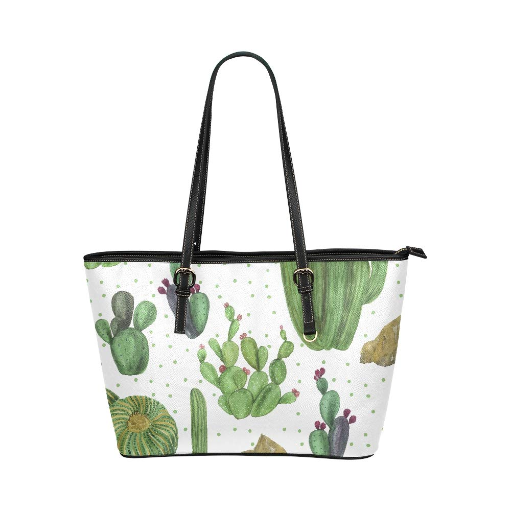 Lovely Green Watercolor Oasis Cactus Large Soft Leather Portable Top Handle Hand Totes Bags Causal Handbags With Zipper Shoulder Shopping Purse Luggage Organizer For Lady Girls Womens Work