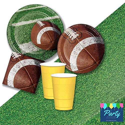 Football Party Supplies Game Day for 16 Guests - Plates, Napkins, 16oz Cups, Tablecover