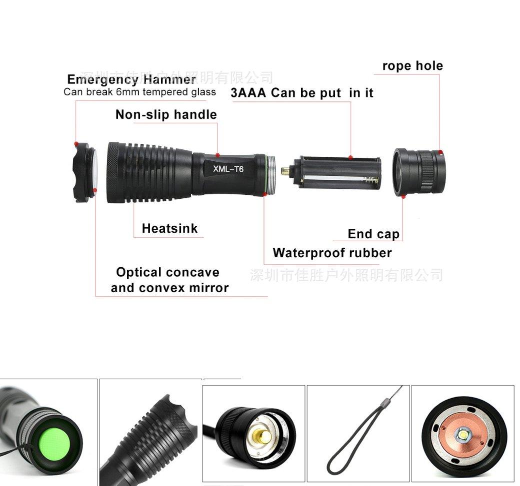 1200LM torche led rechargeable avec 5 Modes Intensit/é Ajustable Torche Lampe de Poche LED Torche LED Rechargeable Torche LED-Lampe de V/élo,Lampe de Torche Militaire Poche LED,Puissante Zoomable