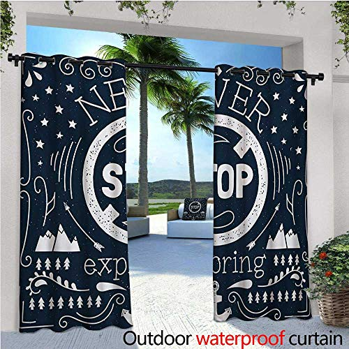 homehot Quote Indoor/Outdoor Single Panel Print Window Curtain Anchor and Star Silhouette with Never Stop Exploring Slogan on Dark Backdrop Silver Grommet Top Drape W120 x L84 Dark Blue and White -