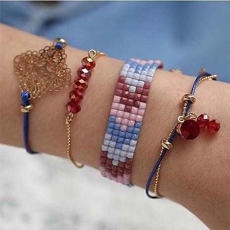 36db108478b8 Pulseras de Amistad Conjuntos Originales Conjuntos de 4 Perlas de Cristal  Rojas Y Azules de Mujer ...