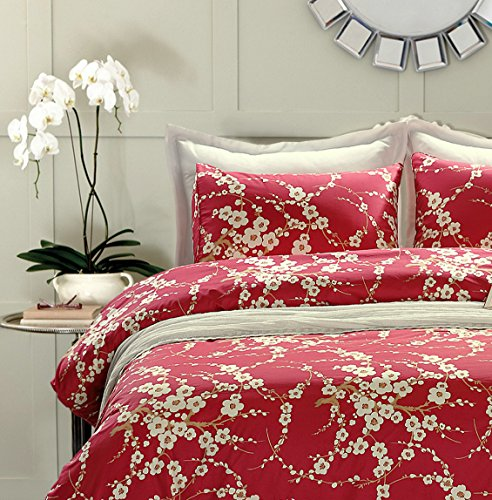 Japanese Oriental Style Cherry Red Blossom Floral branches Print Duvet Quilt Cover 300tc Cotton Bedding 3 piece Set (Queen)
