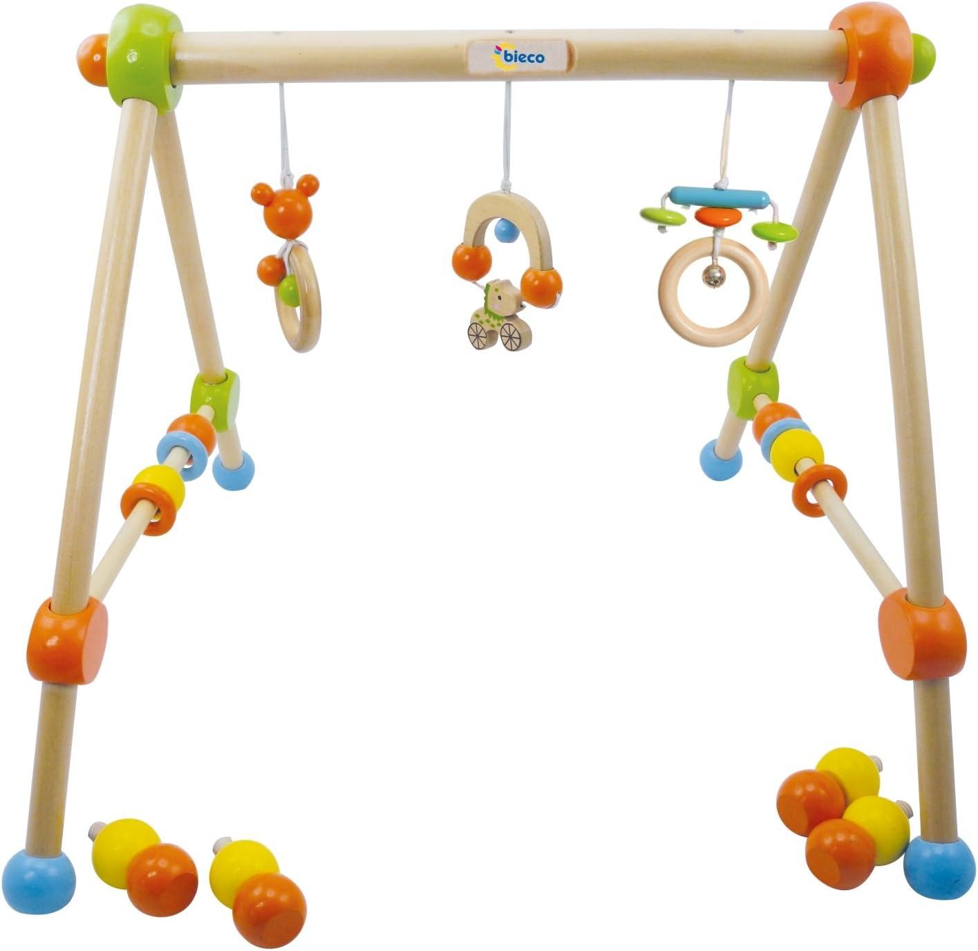 Bieco 4002315 - Gimnasio de madera para bebés (altura regulable), color verde
