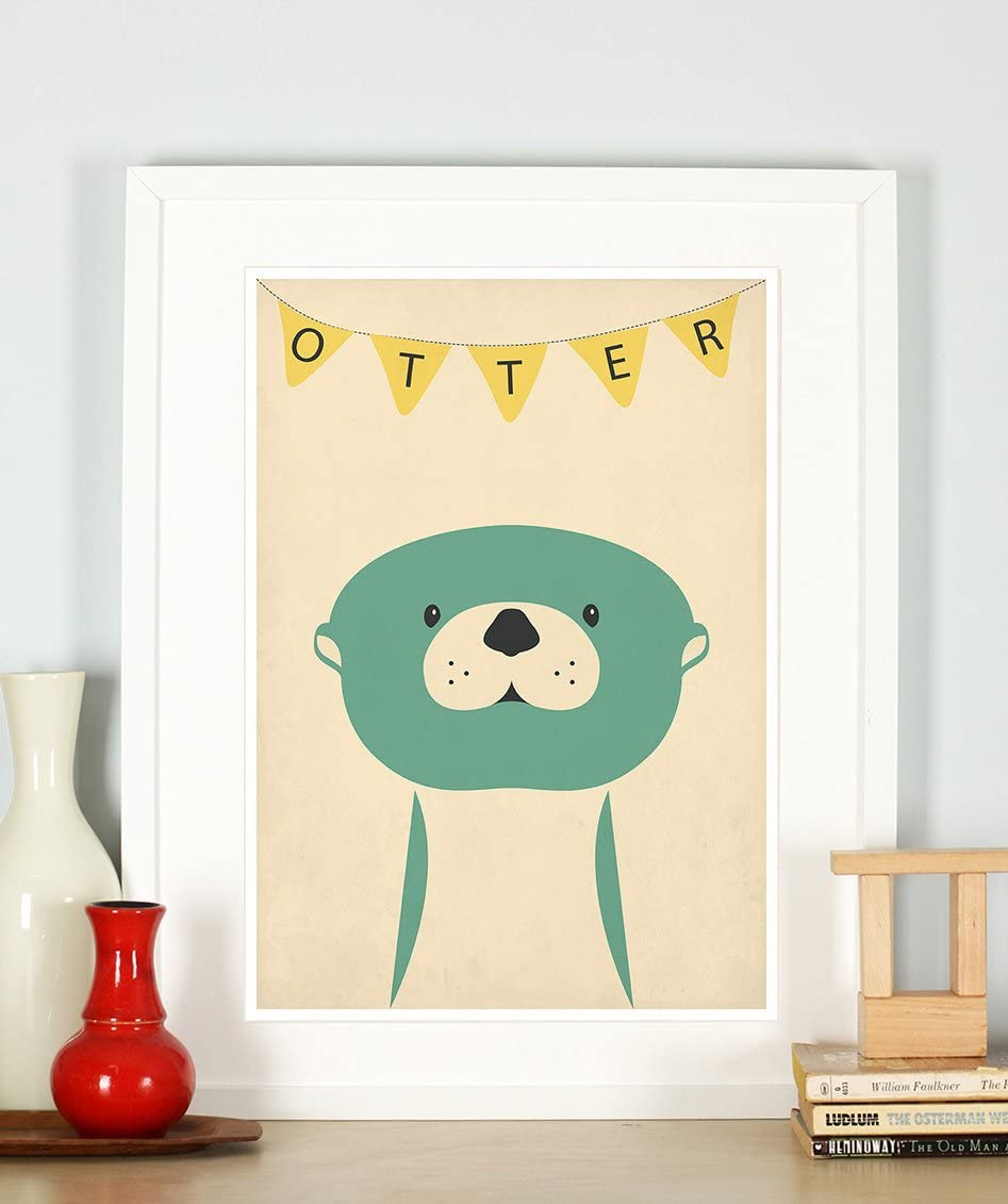 Nursery decor, otter, cute baby animals for kids, children's room picture, retro art print, vintage poster, A3