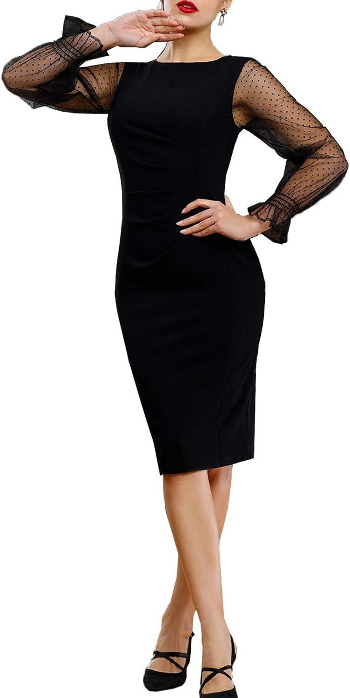 Belle Poque Womens Long Sleeve Soft Velvet Pleated Crossover Bodycon Pencil Dress