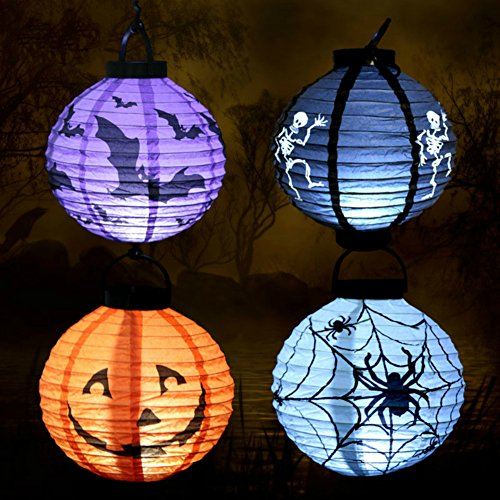 [Halloween Party Paper Pumpkin Lantern LED Lights Bat Spider Skull Pattern Hanging Decorations (4] (Ups Package Costume)