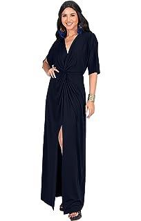 75142330ded KOH KOH Womens Long Short Sleeve V-Neck Sexy Slimming Casual Summer Maxi  Dress