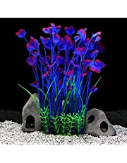 QUMY Large Aquarium Plants Artificial Plastic Fish Tank Plants Decoration Ornament for All Fish (C-Purple)