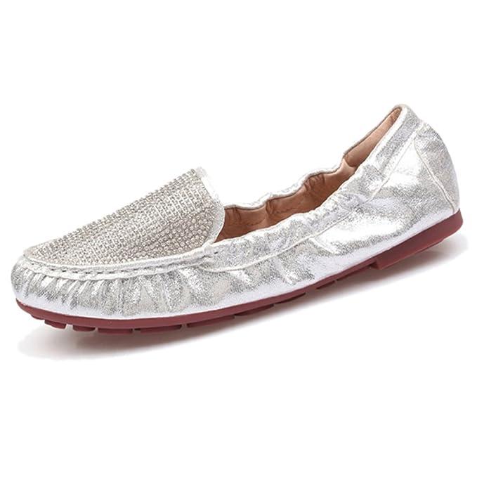 YR-R Ladiea Rhinestones Luz Plana Inferior Redonda Perezosos Zapatos Casual Mocasines Mujeres Cómodos Zapatos Blandos Del Barco Para Caminar Al Aire Libre ...