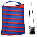 JOE COOL Shoulder Bag All Zipper Large (Blue with Red Zip) Made with Polyester by