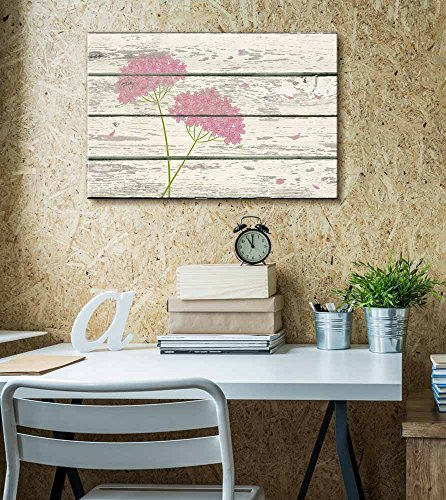 Pink Green Flower Petals on a Breeze Artwork Rustic